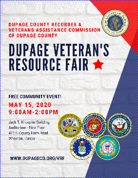 Click for complete information about the DuPage Veterans Resource Fair - May 15, 2020